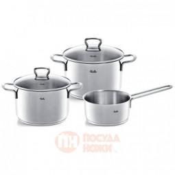 Набор посуды из нержавеющей стали из 2-х кастрюль со стеклянными крышками и ковша Fissler \ 4011203