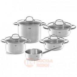 Набор посуды из нержавеющей стали из 4-х кастрюль со стеклянными крышками и ковша Fissler \ 4012305