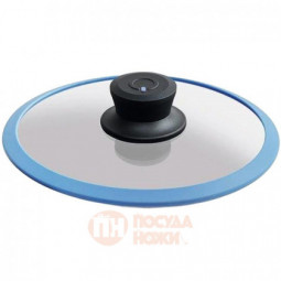 Стеклянная крышка с ручкой и ободком из силикона 20 см Squality \ 20-5a