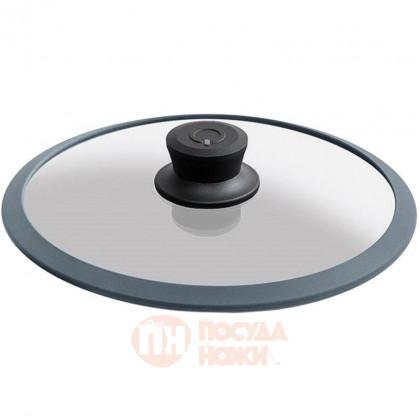 Стеклянная крышка с ручкой и ободком из силикона 24 см Squality \ 24-5g