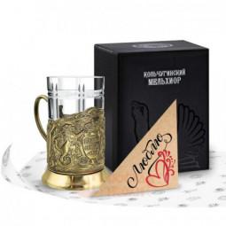 """Набор для чая """"Глава семьи"""" латунный с открыткой Кольчугино \ НБОС9408/86/Л"""