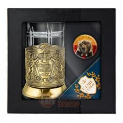 """Набор для чая """"Глава семьи"""" латунный с открыткой и значком Кольчугино \ НБЗС9408/86/ГС"""
