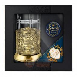 """Набор для чая """"Глава семьи"""" латунный с открыткой и значком Кольчугино \ НБЗС9408/86/ЛЛ"""