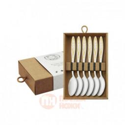 """Набор чайных ложек """"Морозко"""" 6 предметов с позолотой Кольчугино \ КМ0630602"""