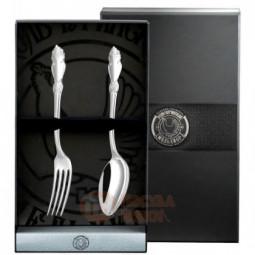"""Десертный набор """"Серебряная роза"""" 2 предмета из мельхиора Кольчугино \ КМ0970201"""