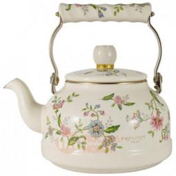 Стальной эмалированный чайник 2.3 л белый/декор Ejiry \ EJ-PVSR-2.3K