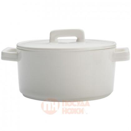 Фарфоровый круглый кокот с крышкой 1.3 л 17 см белый Maxwell&Williams \ MW451-AW0262