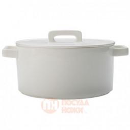 Фарфоровый круглый кокот с крышкой  2.6 л 24 см белый Maxwell&Williams \ MW451-AW0309