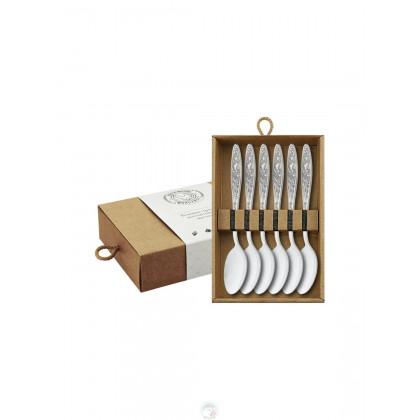 """Набор чайных ложек """"Морозко"""" 6 пр посеребренный с чернью в коробке Кольчугино \ КМ0580606_К"""