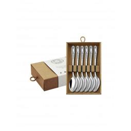 Набор чайных ложек №1 6 пр посеребренный с чернью в коробке Кольчугино \ КМ0870606_К