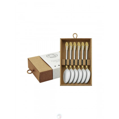 """Набор чайных ложек """"Праздничный"""" 6 пр посеребр. с позолоченными цветами в коробке Кольчугино \ КМ0840602_К"""