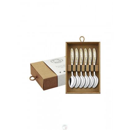 """Набор кофейных ложек """"Пламя"""" 6 пр посеребр. с позолоченным рисунком в коробке Кольчугино \ КМ0690602_К"""